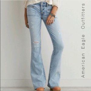 American Eagle Boho Artist Flare Blue Jeans Denim